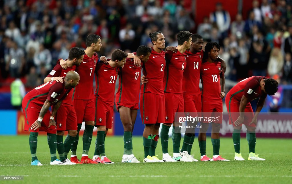 The Portugal team look on during the penalty shoot out during the FIFA Confederations Cup Russia 2017 Semi-Final between Portugal and Chile at Kazan Arena on June 28, 2017 in Kazan, Russia.