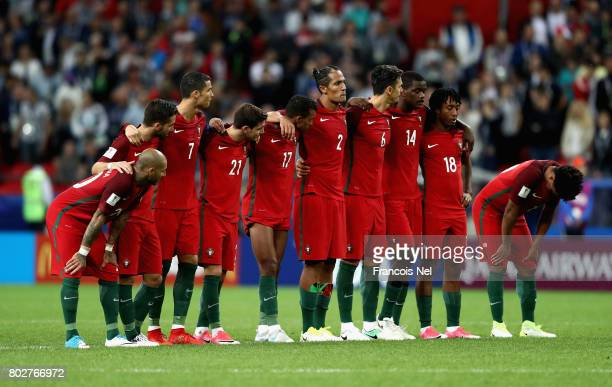 The Portugal team look on during the penalty shoot out during the FIFA Confederations Cup Russia 2017 SemiFinal between Portugal and Chile at Kazan...