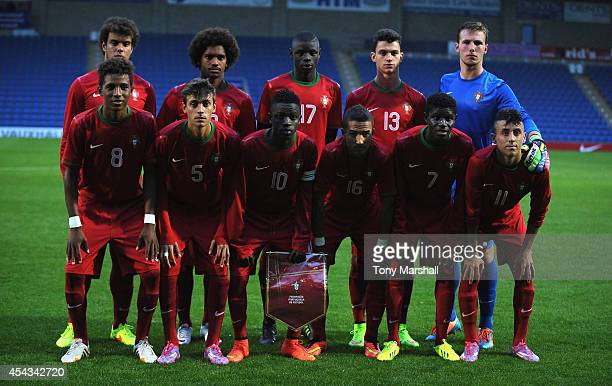The Portugal team pose for a group photo prior to the Under 17 International match between England U17 and Portugal U17 at Proact Stadium on August...