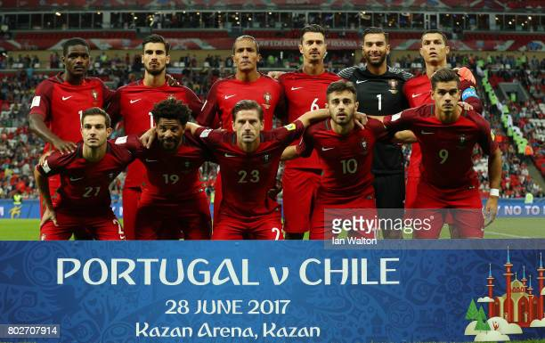 The Portugal team pose for a team photo prior to the FIFA Confederations Cup Russia 2017 SemiFinal between Portugal and Chile at Kazan Arena on June...