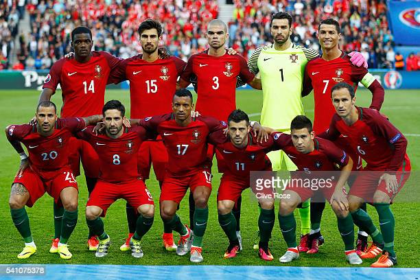 The Portugal team pose for photos prior to the UEFA EURO 2016 Group F match between Portugal and Austria at Parc des Princes on June 18 2016 in Paris...