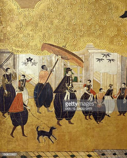 The Portuguese ambassador and his entourage detail from The Portuguese arriving in Japan paper screen Japan 17th century