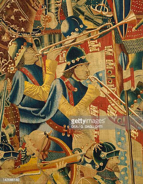 The Portuguese army of Alfonso V during the occupation of Asilah detail of 15th century tapestry kept in the Collegiate Church of Pastrana Spain