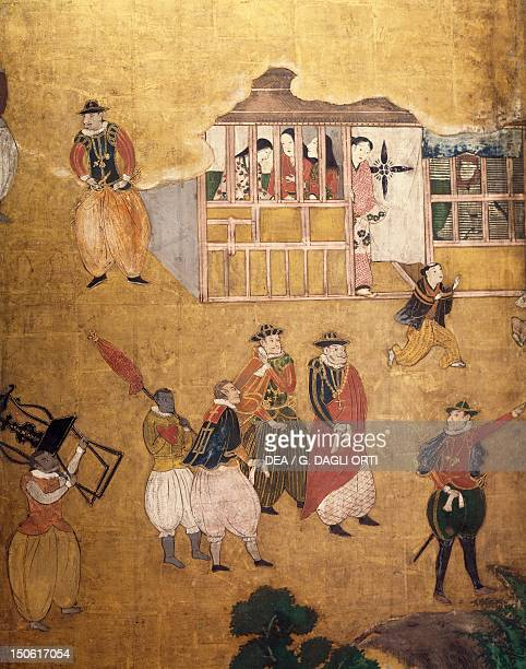 The Portuguese arriving in Japan detail from a paper screen Japan Nanban Civilization