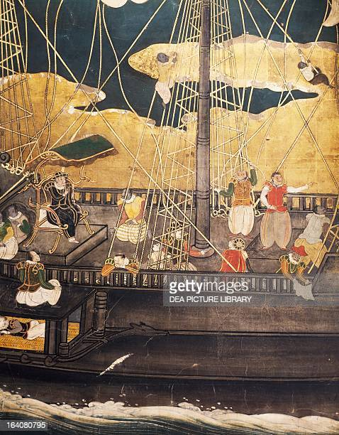 The Portuguese arriving in Japan detail from a screen Naban art Japan 16th17th century