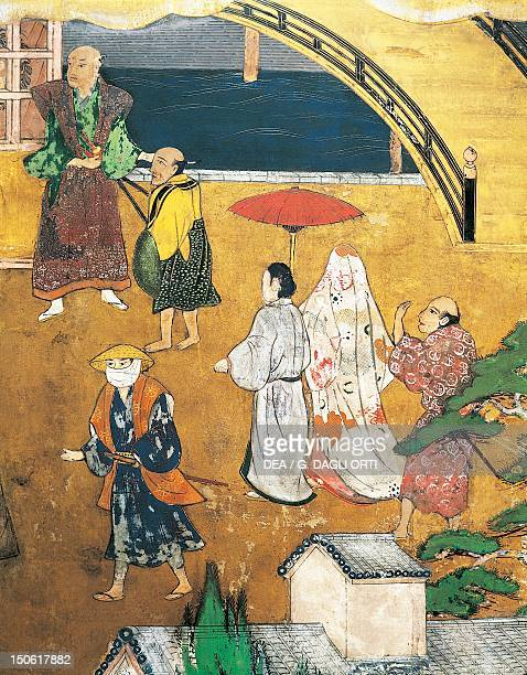 The Portuguese arriving in Japan paper screen Japan Nanban Civilization