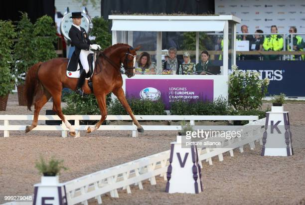 The Portuguese dressage rider Boaventura Freire on horse Sai Baba Plus in action during the dressage Grand Prix at the European Equestrian...