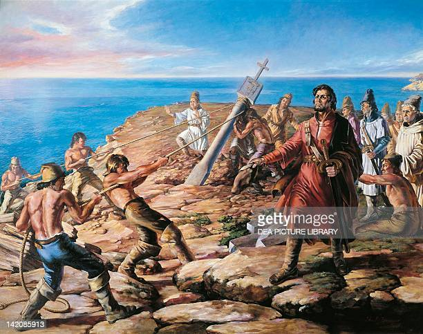 The Portuguese explorer, Diego Cao , erecting a cross in South-West Africa , Africa 15th Century.