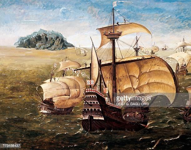 The Portuguese fleet copy of the painting by Cornelius Anthoniszoon 16th century Lisbon Museu De Marinha