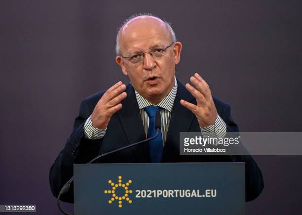 The Portuguese Foreign Minister Augusto Santos Silva holds a press conference at the end of his participation in the Council of Ministers of Foreign...
