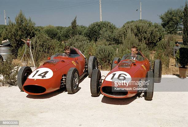 The Portuguese Grand Prix Monsanto August 23 1959 In a publicity shot Tony Brooks and Dan Gurney sit in their cars before practice It was not a very...