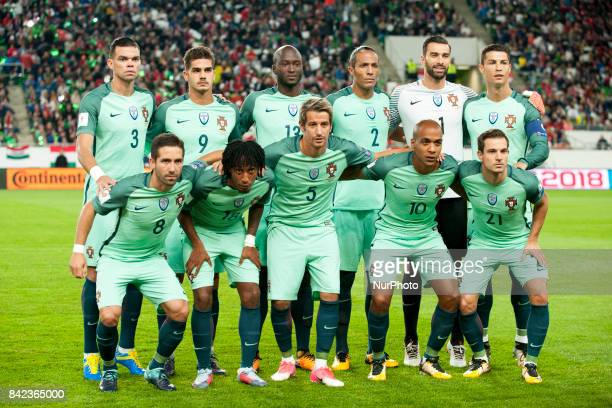 The Portuguese national football team poses for photo during the FIFA World Cup 2018 Qualifying Round match between Hungary and Portugal at Groupama...