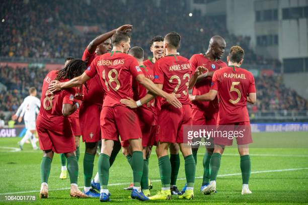 The Portuguese players celebrate Andre Silva scoring during the UEFA Nations League A Group 3 match between Portugal and Poland at Estadio D Afonso...