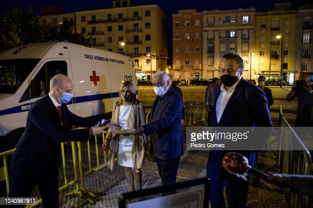 The Portuguese Prime Minister Antonio Costa and concert promoter Alvaro Covoes enter Campo Pequeno to see Deixem o Pimba em Paz perform the first...