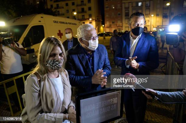 The Portuguese Prime Minister Antonio Costa sanitizes his hands as he talks to the press while entering Campo Pequeno to see Deixem o Pimba em Paz...