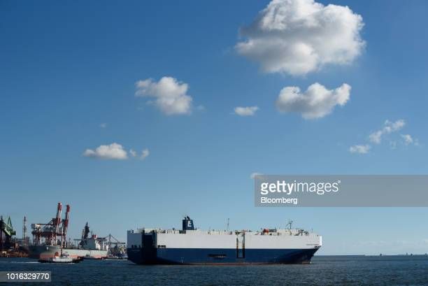 The Positive Pioneer vehicle carrier sails in Nagoya Japan on Tuesday July 31 2018 Japan is scheduled to release trade balance figures for July on...