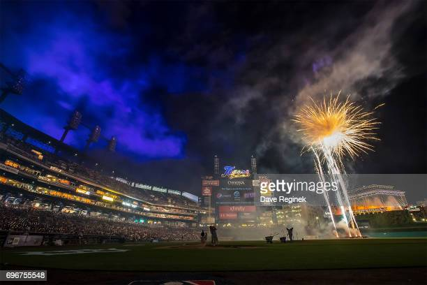 The post game fireworks show after a MLB game between the Detroit Tigers and the Tampa Bay Rays at Comerica Park on June 16 2017 in Detroit Michigan...