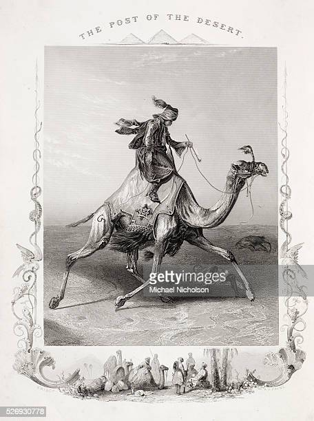 The Post of The Desert A fanciful 19th century British image representing an Egyptian postman riding a dromedary camel through the desert while...