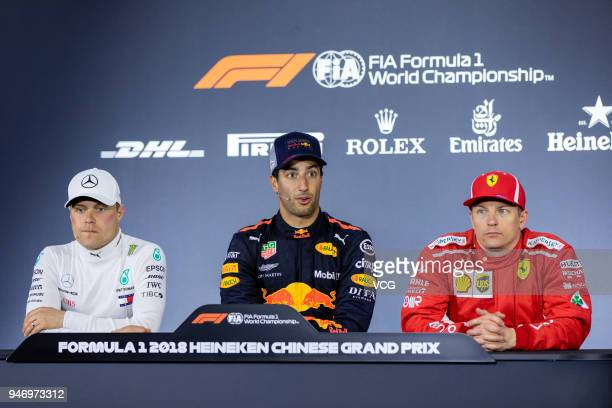 The post race press conference with race winner Daniel Ricciardo of Australia and Red Bull Racing second place Valtteri Bottas of Finland and...
