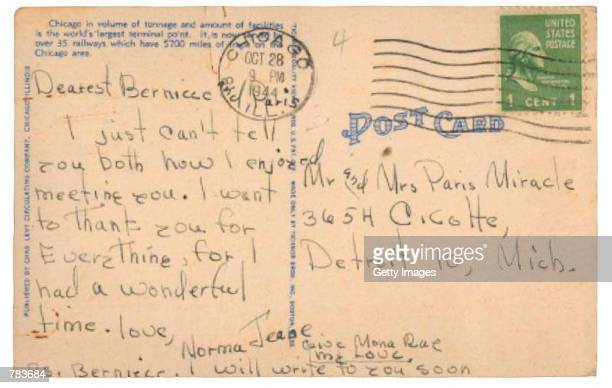 The postcard written from Norma Jean Dougherty, or celebrity Marilyn Monroe, addressed to Mr. And Mrs. Paris Miracle, her half-sister Berniece and...