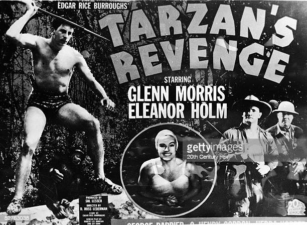 The poster for advertising the film 'Tarzan's Revenge' directed by D Ross Lederman depicts various scenes from the movie which starred American actor...