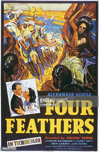The poster for director Zoltan Korda's adventure film 'The Four Feathers' 1939 The film stars Ralph Richardson and June Duprez