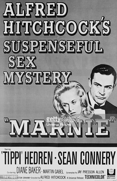 The poster for 'Marnie' 'Alfred Hitchcock's suspenseful sex mystery' starring Sean Connery and Tippi Hedren 1964
