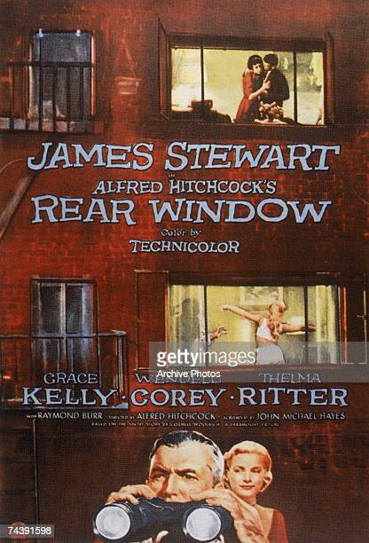 The poster for the film 'Rear Window' directed by Alfred Hitchcock for Paramount and starring James Stewart and Grace Kelly 1954