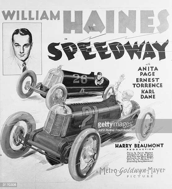 The poster for the MGM film 'Speedway' directed by Harry Beaumont in which William Haines plays the happygolucky mechanic Bill Whipple