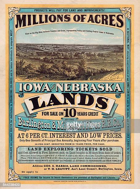 The poster notes Millions of acres Iowa and Nebraska Land for sale on 10 years credit by the Burlington Missouri River R R Co at 6 per ct interest...