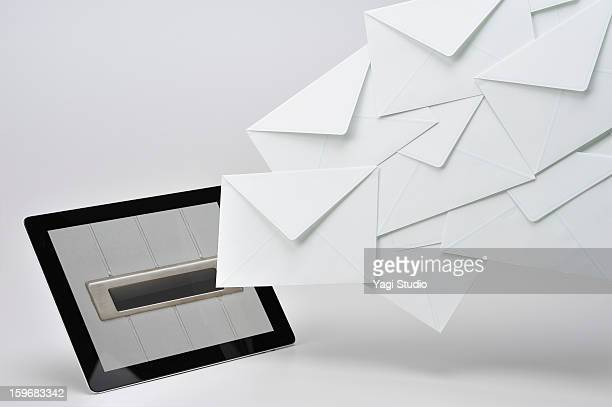 The posting email on the tablet