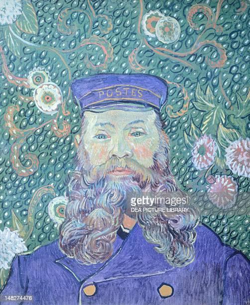 The Postman Joseph Roulin by Vincent van Gogh oil on canvas 81x65 cm detail Otterlo Rijksmuseum KrollerMuller