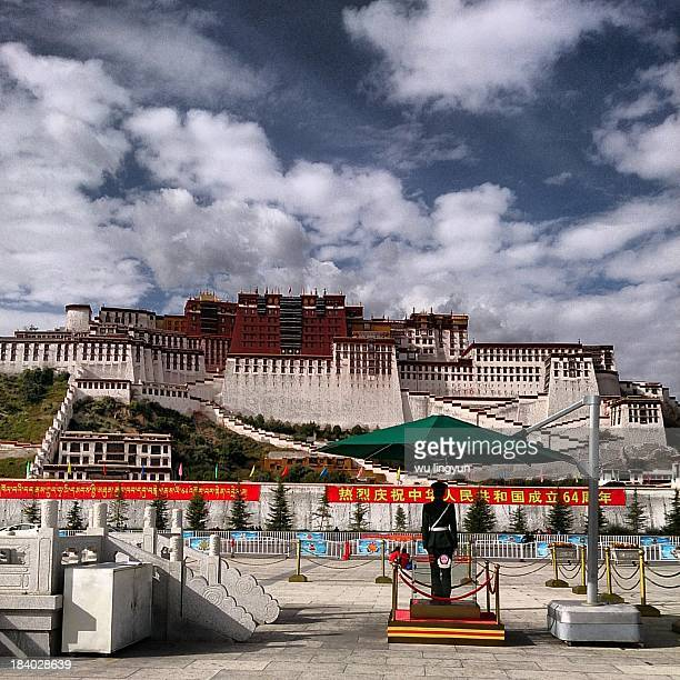 The Potala Palace plaza with armed police in China's 64th National Day.