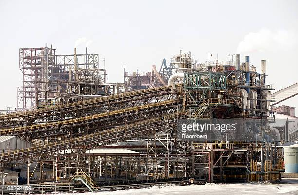 The potash fertilizer manufacturing plant stands at ICL Fertilizer's Dead Sea Works part of Israel Chemicals Group on the Dead Sea Israel on Monday...