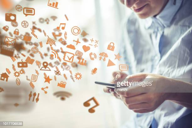 the power of mobile technology - icon set stock photos and pictures