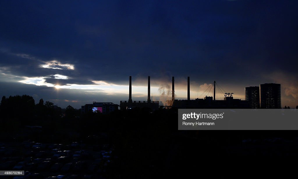 The power plant at the Volkswagen AG headquarters is seen during sunset on October 17, 2015 in Wolfsburg, Germany.