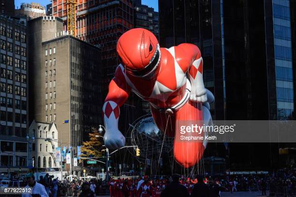 The Power Ranger balloon floats on Central Park West during the annual Macy's Thanksgiving Day parade on November 23 2017 in New York City The Macy's...