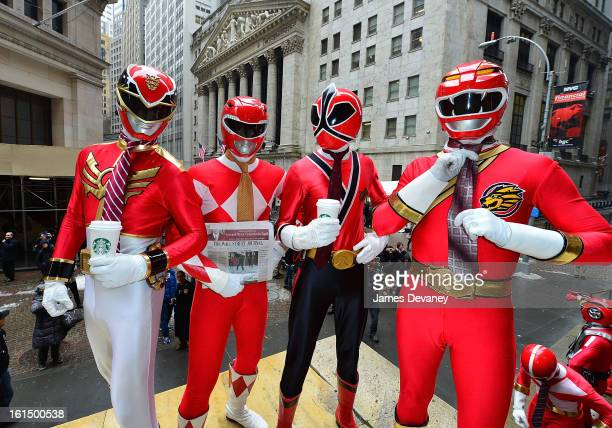 The Power Rangers visit Wall Street for their 20th Anniversary Bus Tour on February 11 2013 in New York City