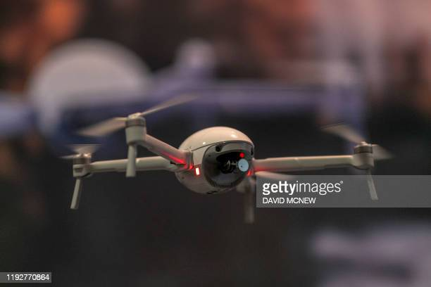 The PowerEgg X autonomous personal AI camera is converted into drone at the 2020 Consumer Electronics Show in Las Vegas, Nevada on January 9, 2020. -...
