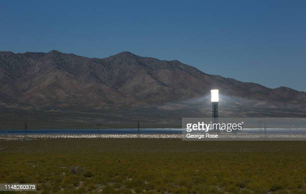 The powerful Ivanpah Solar Electric Generating System located in California's Mojave Desert just south of this stateline town is viewed on May 6 2019...