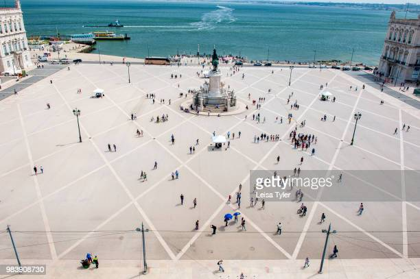 The Praca do Comercio square on the riverfront in Lisbon, Portugal as seen from the Arco da Rua Augusta, or city gate.