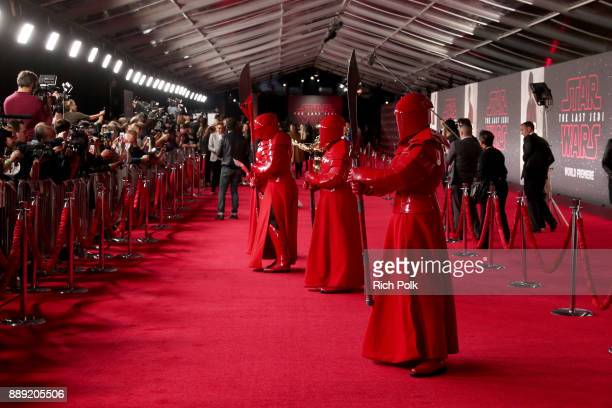 The Praetorian Guard at the world premiere of Lucasfilm's Star Wars The Last Jedi at The Shrine Auditorium on December 9 2017 in Los Angeles...