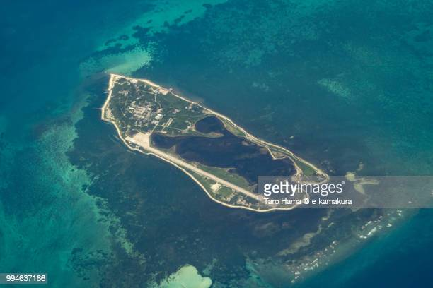 The Pratas Islands in South China Sea daytime aerial view from airplane