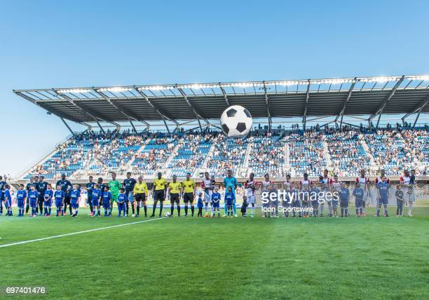The pre game national anthem ceremony during the regular season match between the Sporting Kansas City and the San Jose Earthquakes at Avaya Stadium...