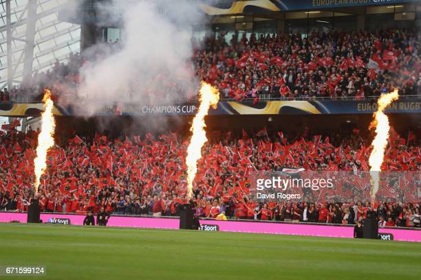 The pre match entertainment during the European Rugby Champions Cup semi final match between Munster and Saracens at the Aviva Stadium on April 22...