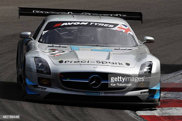 The Preci - Spark Mercedes AMG GT3 of Godfrey Jones and David Jones drives during the British GT Championship race at Brands Hatch on August 2, 2015...