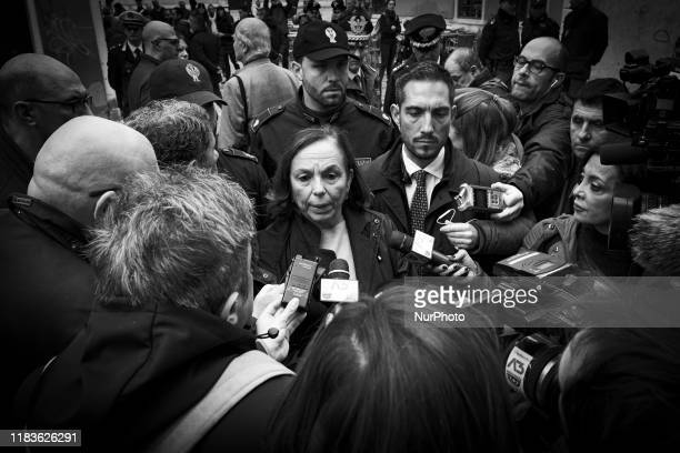 The Prefect Luciana Lamorgese speaks to the microphones in front of the Venice Conservatory of high tide that struck the city Venice Italy November...