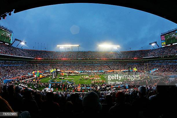 The pregame entertainment takes the field before the Indianapolis Colts take on the Chicago Bears during Super Bowl XLI on February 4 2007 at Dolphin...