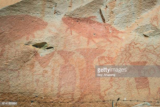 The prehistoric art painting on the cliff of Pha Taem.
