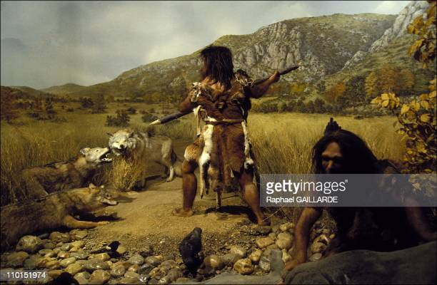 The Prehistory Museum in Tautavel France on June 23 1992 Hunting scene at Tautavel man time